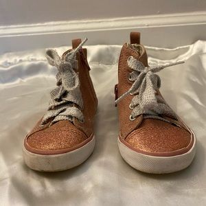 Glitter Pink Zip Up Tennis Shoes